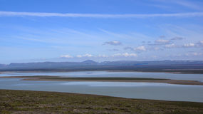 Lago grande Blöndolon no fim do Kjolur Foto de Stock Royalty Free