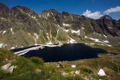 Lago grande de derretimento da montanha Fotos de Stock