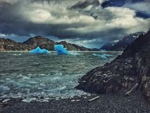 Lago grey. Icebergs in Torres del Paine Royalty Free Stock Image