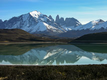 Lago Grey in Torres del Paine. Lago Grey in the Torres del Paine national Park, Patagonia, Chile. A rare view on a calm morning Stock Photo