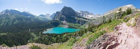 Lago Grinnell panoramico - Glacier National Park Fotografie Stock Libere da Diritti