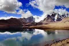 Lago Gurudongmar, Sikkim norte, Índia Imagem de Stock