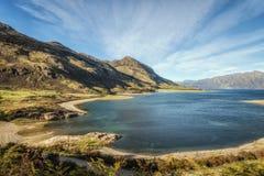 Lago Hawea nell'isola del sud , la Nuova Zelanda Fotografie Stock Libere da Diritti