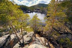 Lago hermoso de la montaña Fotografía de archivo