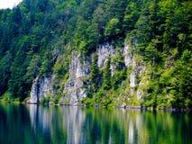 Lago hermoso del cisne con la orilla rocosa en las montan@as. Imagen de archivo libre de regalías