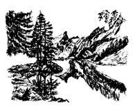 Lago hermoso en el medio de un bosque conífero, ejemplo a mano de la montaña del paisaje del fondo del dibujo del vector Foto de archivo
