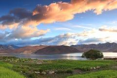 Lago hermoso Ladakh Pangong de la opinión del lago adentro Fotos de archivo libres de regalías