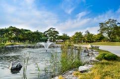 Lago hermoso y parque ajardinado Fotografía de archivo