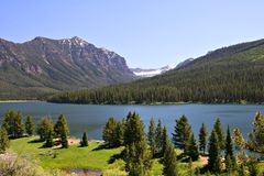 Lago Highlite en el bosque del Estado de la galatina, Bozeman Foto de archivo