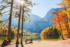 Lago Hinterer Langbathsee in alpi austriache Fotografia Stock