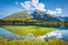 Lago Hintersee en el verano, Baviera, Alemania foto de archivo libre de regalías