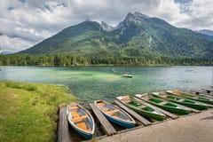 Lago Hintersee Ramsau alla terra di Berchtesgadener, Baviera, GER Immagini Stock