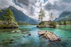 Lago Hintersee vicino a Ramsau alla terra di Berchtesgadener, Baviera, GER Fotografie Stock Libere da Diritti