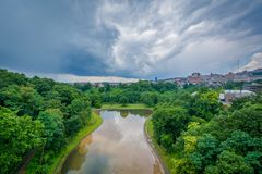 Lago hollow de la pantera, en el parque de Schenley, Pittsburgh, Pennsylvania imágenes de archivo libres de regalías