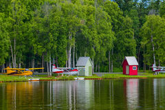 Lago Hood Seaplanes em Alaska Fotografia de Stock
