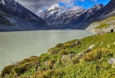 Lago hooker, cozinheiro National Park da montagem - Nova Zelândia imagens de stock