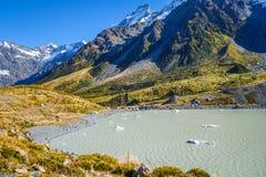 Lago hooker no cozinheiro da montagem de Aoraki, Nova Zelândia fotos de stock royalty free