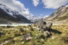 Lago hooker no cozinheiro National Park do Mt, Nova Zelândia fotos de stock