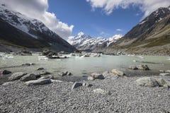 Lago hooker no cozinheiro National Park do Mt, Nova Zelândia fotografia de stock