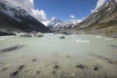 Lago hooker no cozinheiro National Park do Mt, Nova Zelândia fotografia de stock royalty free