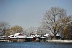 Lago Houhai después de la nieve imagen de archivo