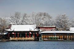 Lago Houhai después de la nieve imagenes de archivo