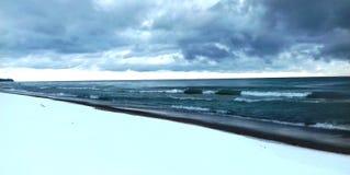 Lago Huron nell'inverno fotografia stock libera da diritti