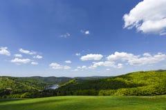 Lago idilliaco circondato dai prati verdi, paesaggio nell'Alsazia francese, Francia, Europa fotografia stock