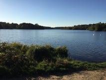 Lago inglese su un paesaggio di giorno soleggiato fotografia stock libera da diritti