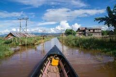 Lago Inle di giro in barca fotografia stock libera da diritti
