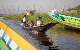 Lago Inle Myanmar Fotografie Stock Libere da Diritti