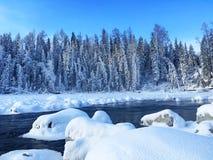 Lago Kanas della neve nell'inverno Immagini Stock Libere da Diritti