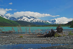 Lago Kenai en el comienzo del verano fotografía de archivo