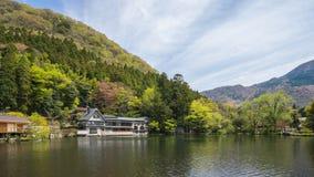 Lago Kinrinko com montagem Yufu em Oita, Yufu, lapso de tempo de Japão vídeos de arquivo