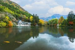 Lago Kinrinko in Yufuin, Kyushu, Giappone Immagini Stock Libere da Diritti