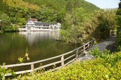 Lago Kinrinko Yufuin nessun Mori Japan fotografia stock libera da diritti