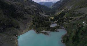 Lago Kuyguk august, tiro no zangão, Altai, Rússia filme