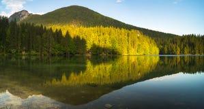 Lago Laghi di fusine-montaña en las montañas italianas Fotografía de archivo