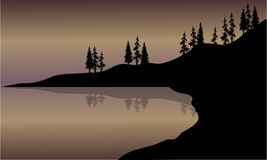 Lago landscape da silhueta Fotografia de Stock