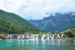 Lago Lanyue a Jade Dragon Snow Mountain Fotografia Stock Libera da Diritti