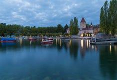 Lago Leman e castelo Ouchy na manhã Imagens de Stock