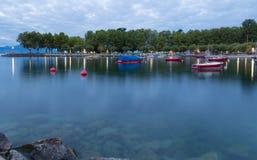 Lago Leman na manhã Suíço Imagens de Stock Royalty Free