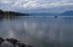 Lago Leman na manhã switzerland Foto de Stock Royalty Free