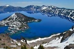 Lago lindo em um dia de mola, Oregon crater Imagens de Stock Royalty Free
