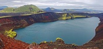 Lago Ljotipollur em Islândia Fotos de Stock Royalty Free