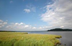 Lago, llano de inundación y cielos Fotografía de archivo