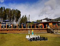 Lago Louise Ski Resort Gondola Summer, Banff NP Imagens de Stock Royalty Free