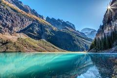 Lago Louise Sunburst foto de archivo libre de regalías