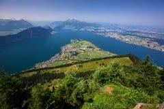 Lago Lucerna e montagna Pilatus da Rigi in alpi svizzere, Svizzera centrale Immagini Stock