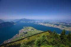 Lago Lucerna e montagna Pilatus da Rigi in alpi svizzere, Svizzera centrale Fotografia Stock Libera da Diritti
